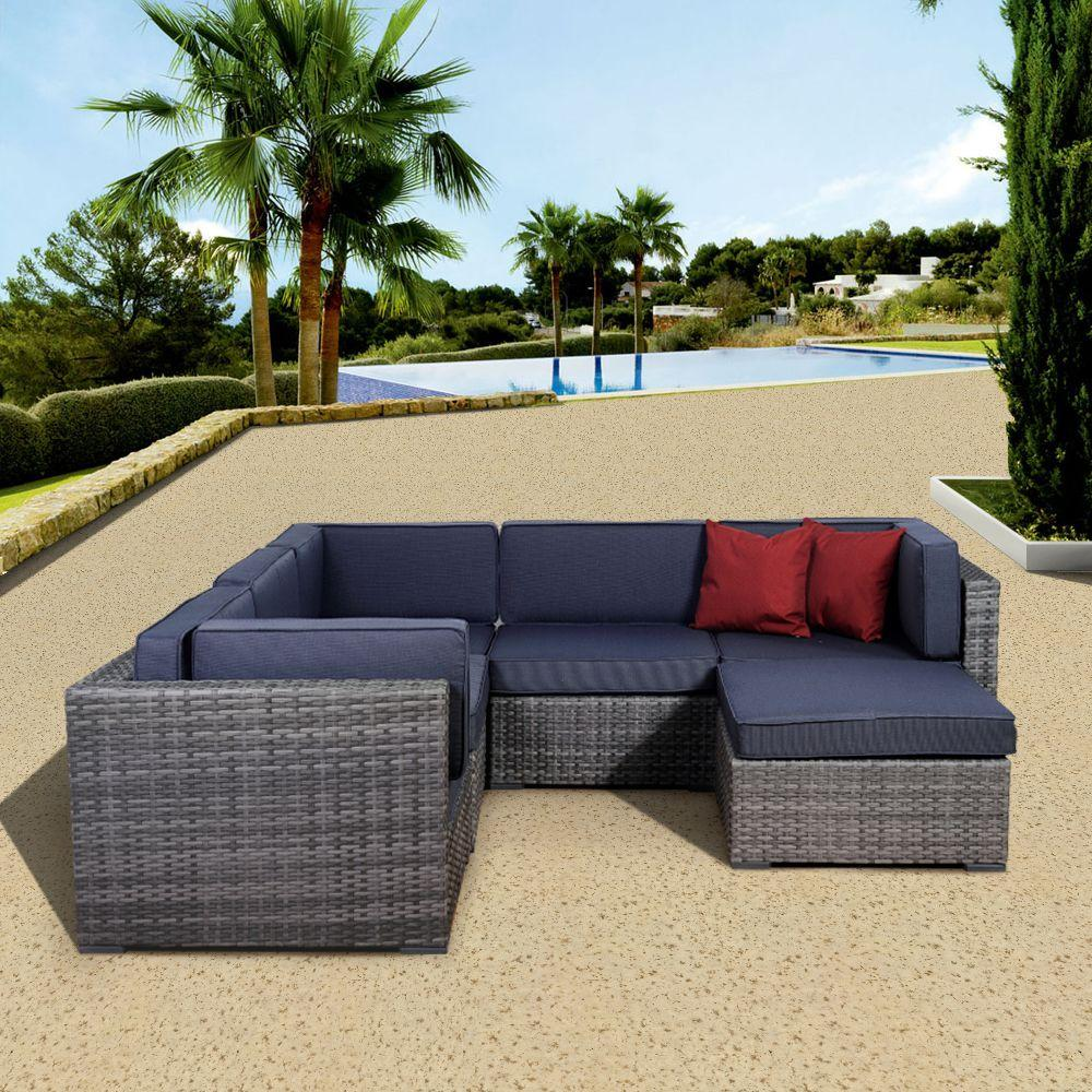 Attractive Bellagio Grey 6 Piece All Weather Wicker Patio Seating Set With Grey Cushion