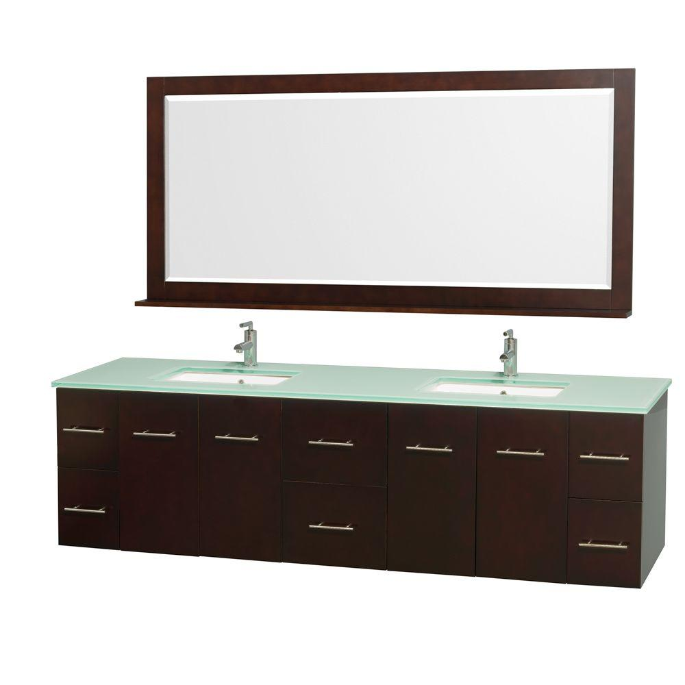 Wyndham Collection Centra 80 in. Double Vanity in Espresso with Glass Vanity Top in Aqua and Square Porcelain Under-Mounted Sinks