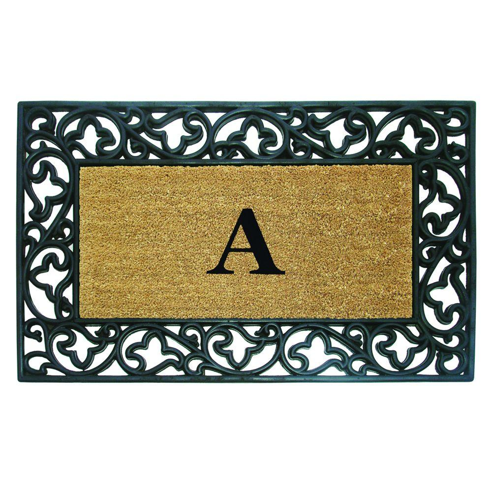 Acanthus Border 30 in. x 48 in. Rubber Coir Monogrammed A