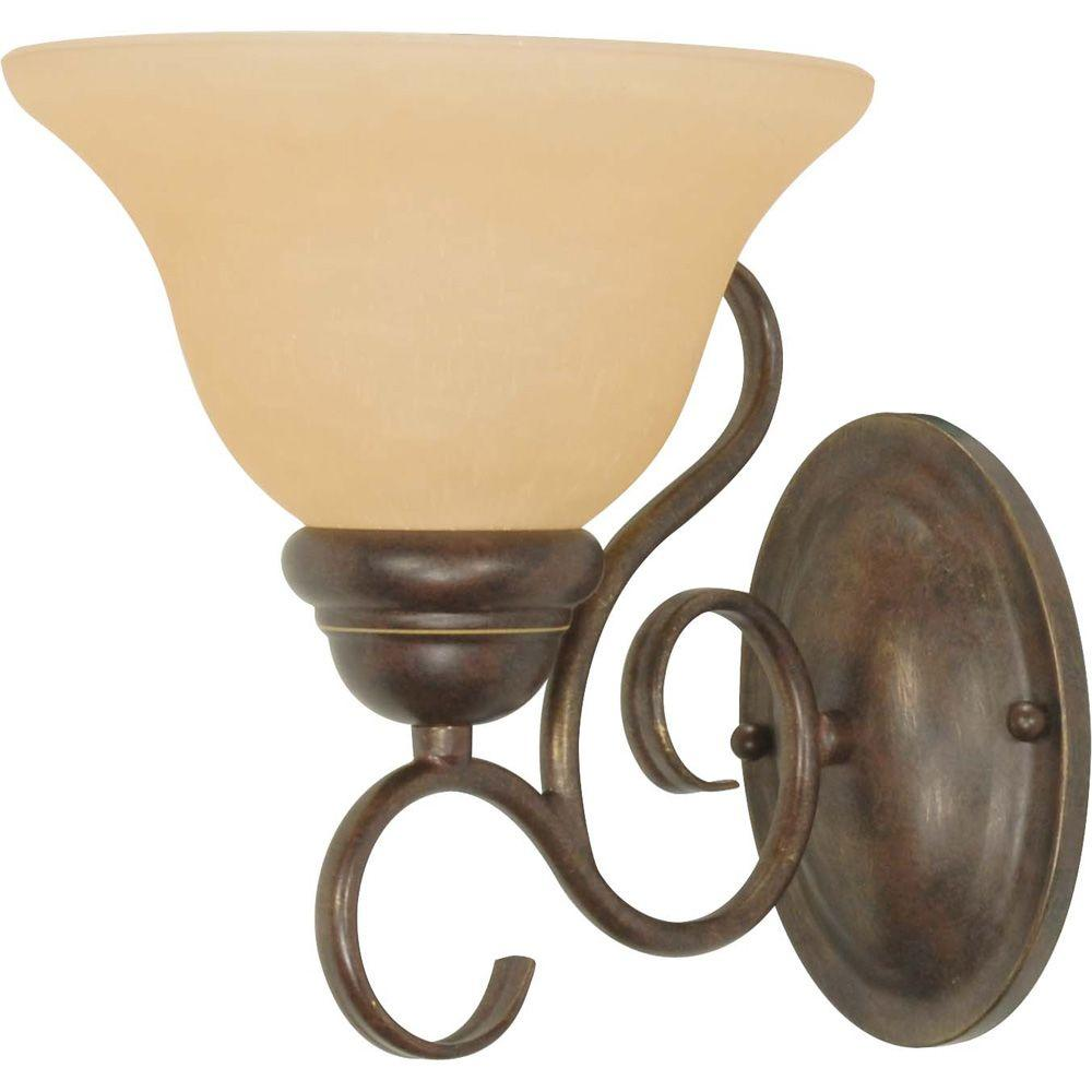 Glomar Adria 1-Light Sonoma Bronze Sconce with Champagne Linen Washed