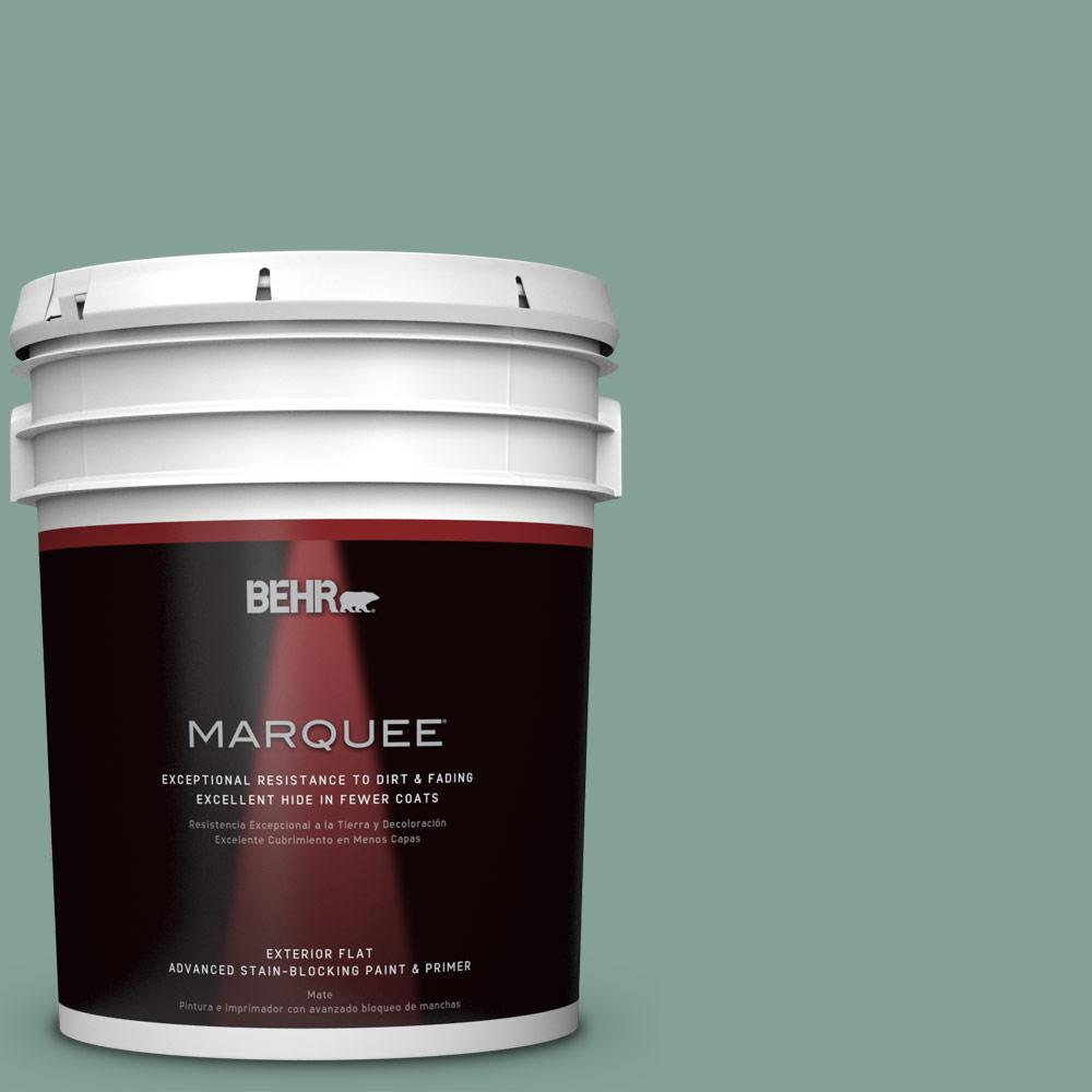 BEHR MARQUEE 5-gal. #S420-4 Australian Jade Flat Exterior Paint-445405 - The