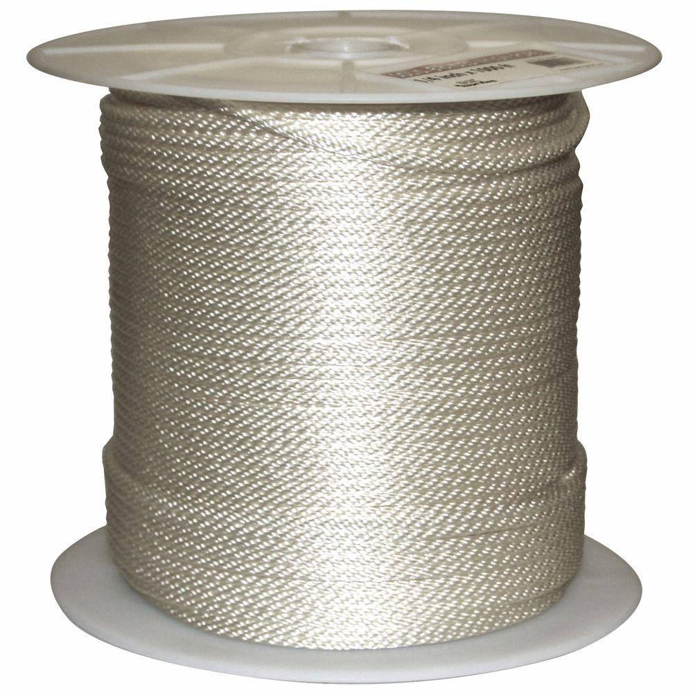Rope King 1/4 in. x 1000 ft. Solid Braided Nylon Rope White
