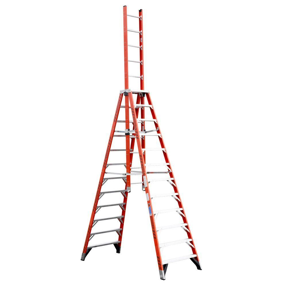 Werner 12 ft. Fiberglass Extension Trestle Step Ladder with 300 lb.