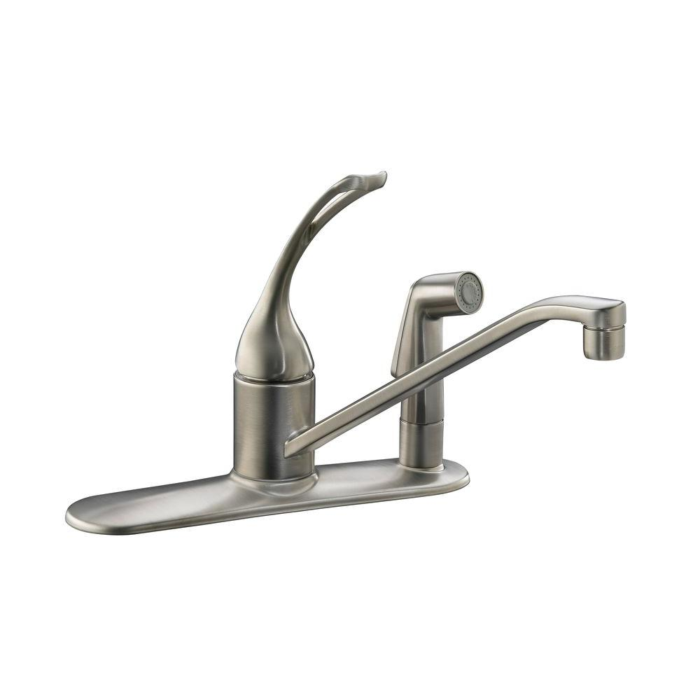 brushed nickel single handle kitchen faucet kohler coralais single handle standard kitchen faucet with side sprayer in vibrant brushed 992