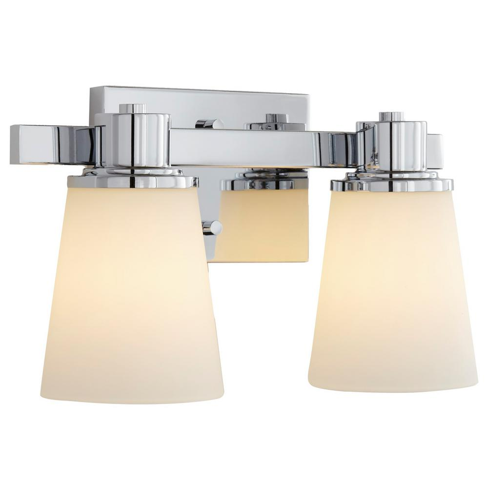 2-Light Chrome Bath Vanity Light with Bell Shape Etched White Glass