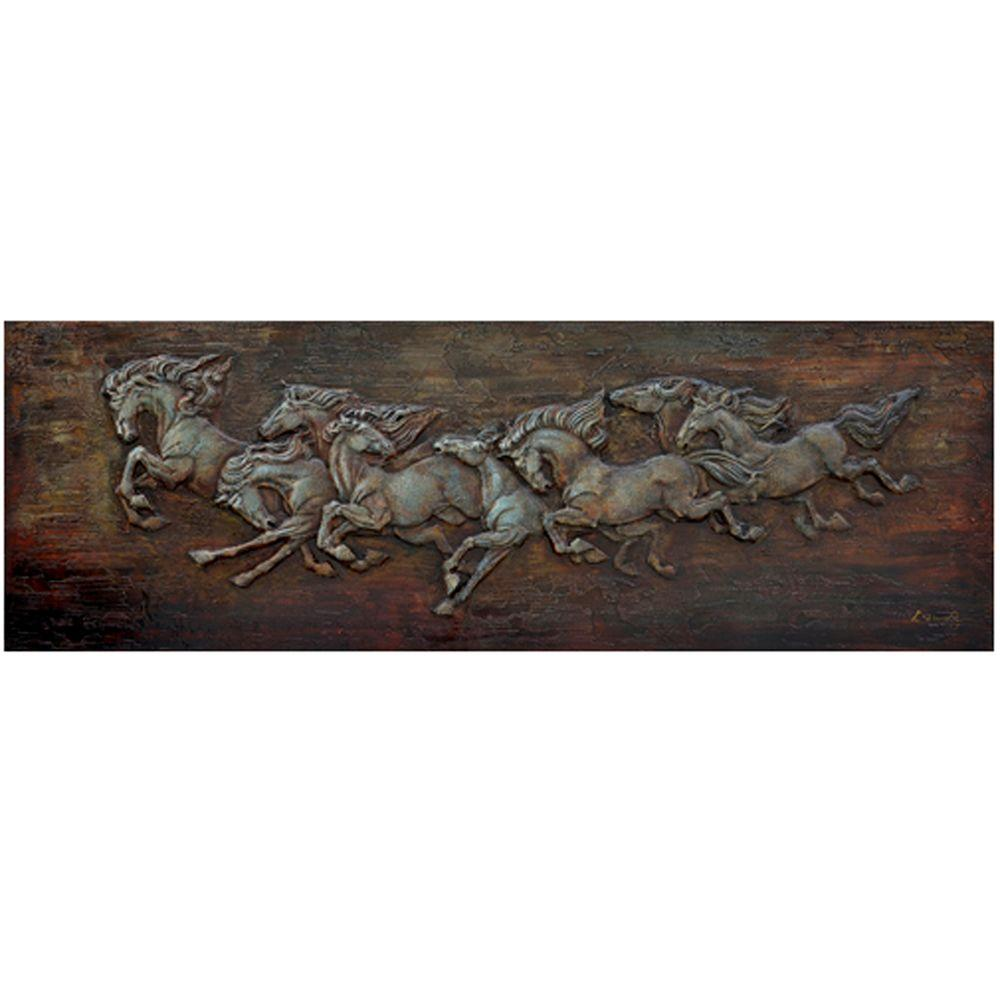 "Yosemite Home Decor 24 in. x 71 in. ""Horse Soldiers"" Hand Painted Canvas Wall Art"
