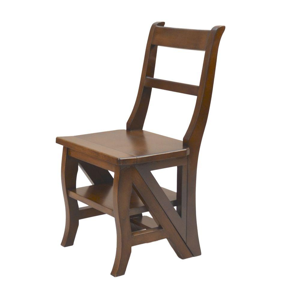 carolina cottage folding library ladder chair in chestnut brown