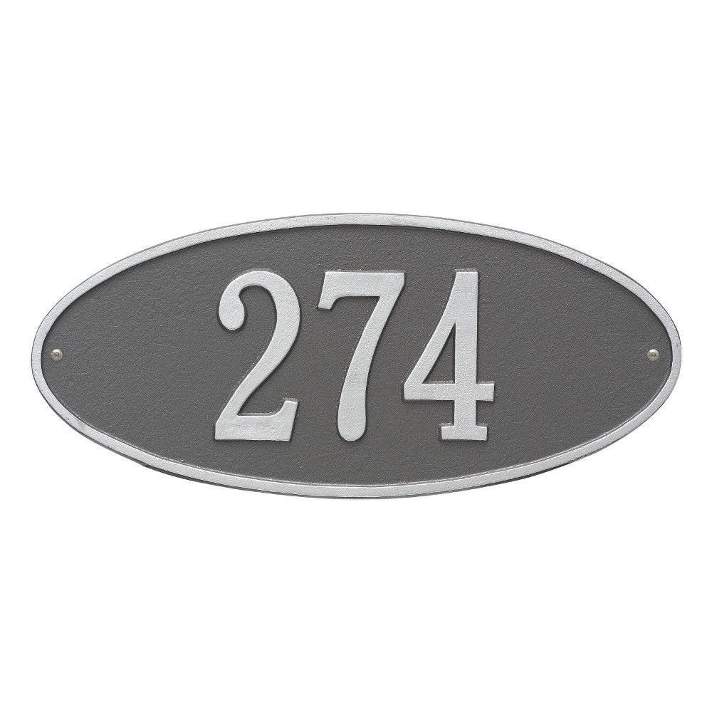 Madison Standard Oval Pewter/Silver Wall 1-Line Address Plaque