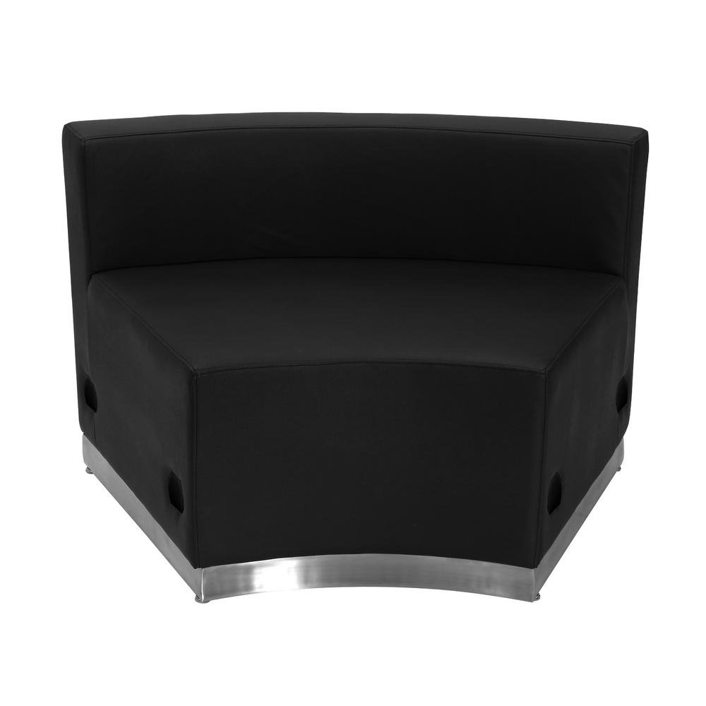 Hercules Alon Series Black Leather Concave Chair with Brushed Stainless Steel