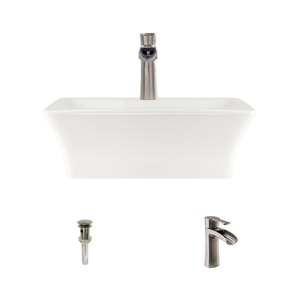 MR Direct Porcelain Vessel Sink In Bisque With 732 Faucet