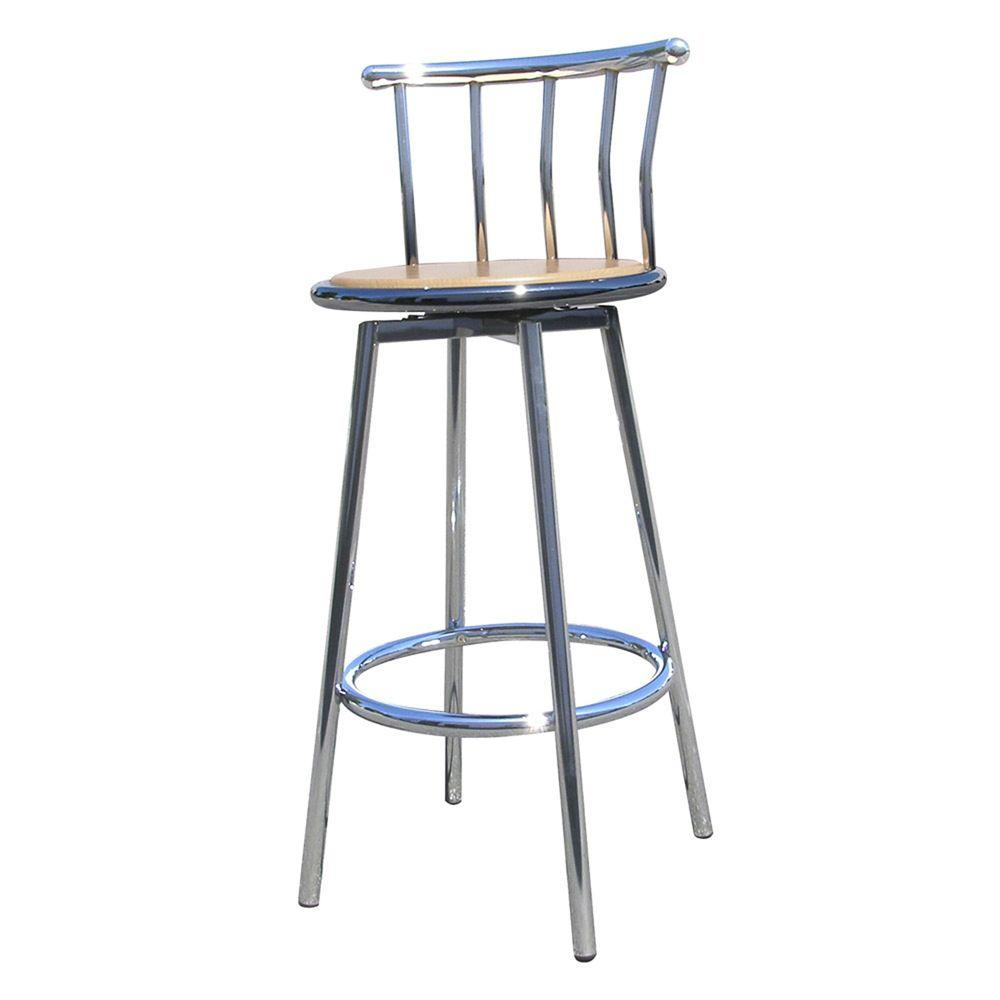 Home decorators collection 29 in chrome swivel bar stool set of 2 r652 cp the home depot Home depot wood bar stools