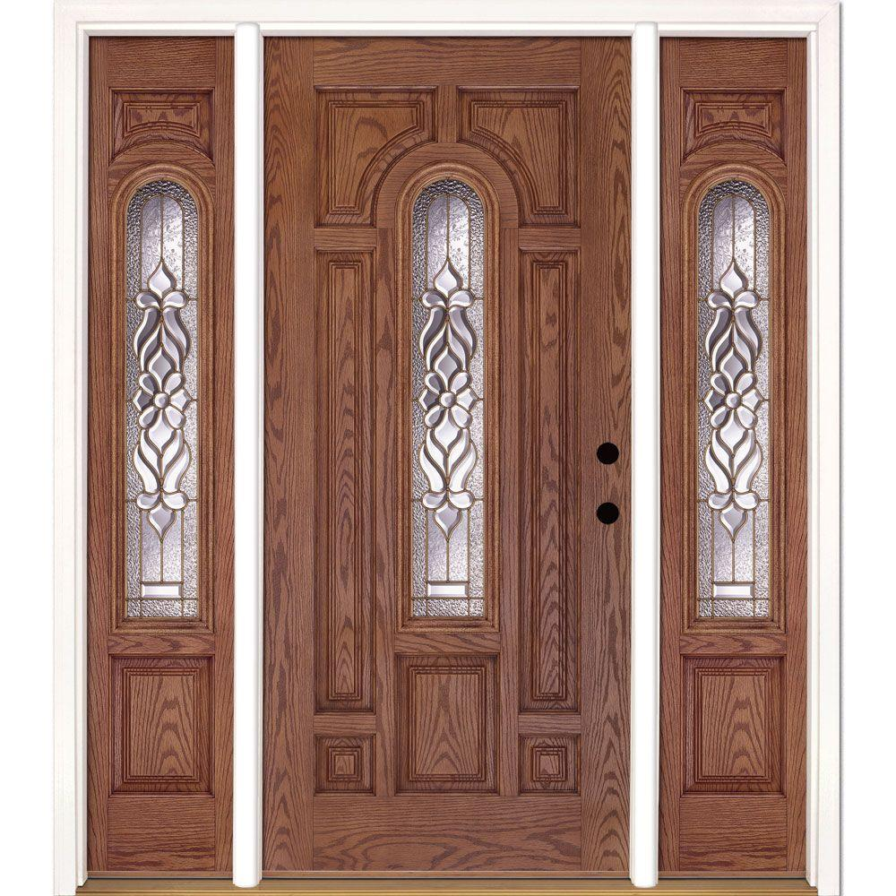 63.5 in.x81.625in.Lakewood Brass Center Arch Lt Stained Medium Oak Left-Hand