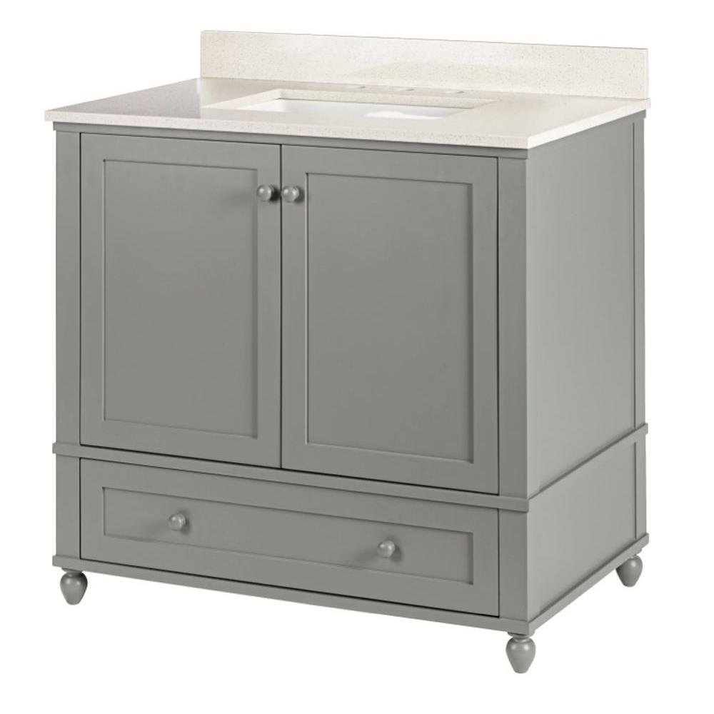 Home decorators collection inman 36 in w x 21 5 in d vanity in cool gray with quartz vanity Home decorators collection 36 vanity