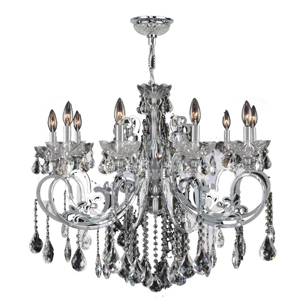 Kronos 10-Light Polished Chrome with Clear Crystals Large Chandelier