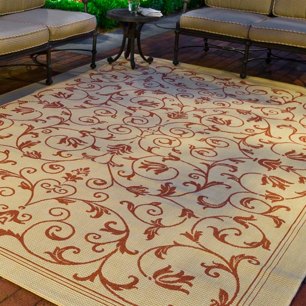 Safavieh Courtyard Natural/Terracotta 8 ft. x 11 ft. Indoor/Outdoor Area Rug