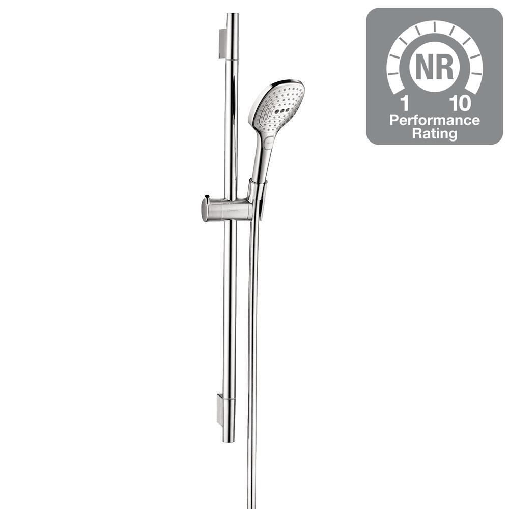 hansgrohe raindance select e 120 green 3 spray wall bar shower kit in chrome 04562005 the home. Black Bedroom Furniture Sets. Home Design Ideas