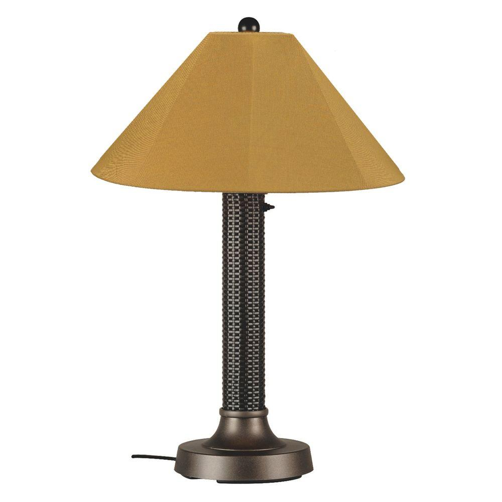Bahama Weave 34 in. Dark Mahogany Outdoor Table Lamp with Brass