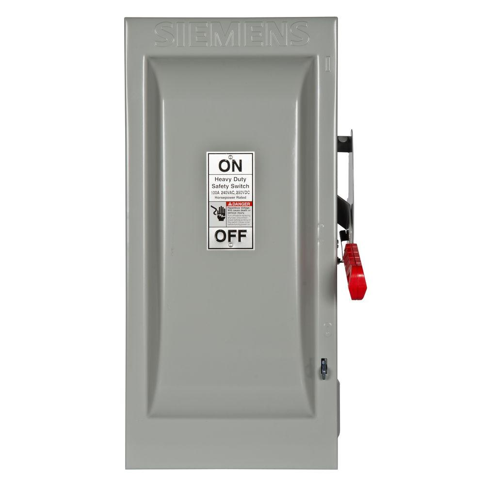 Heavy Duty 100 Amp 240-Volt 2-Pole Indoor Fusible Safety Switch with