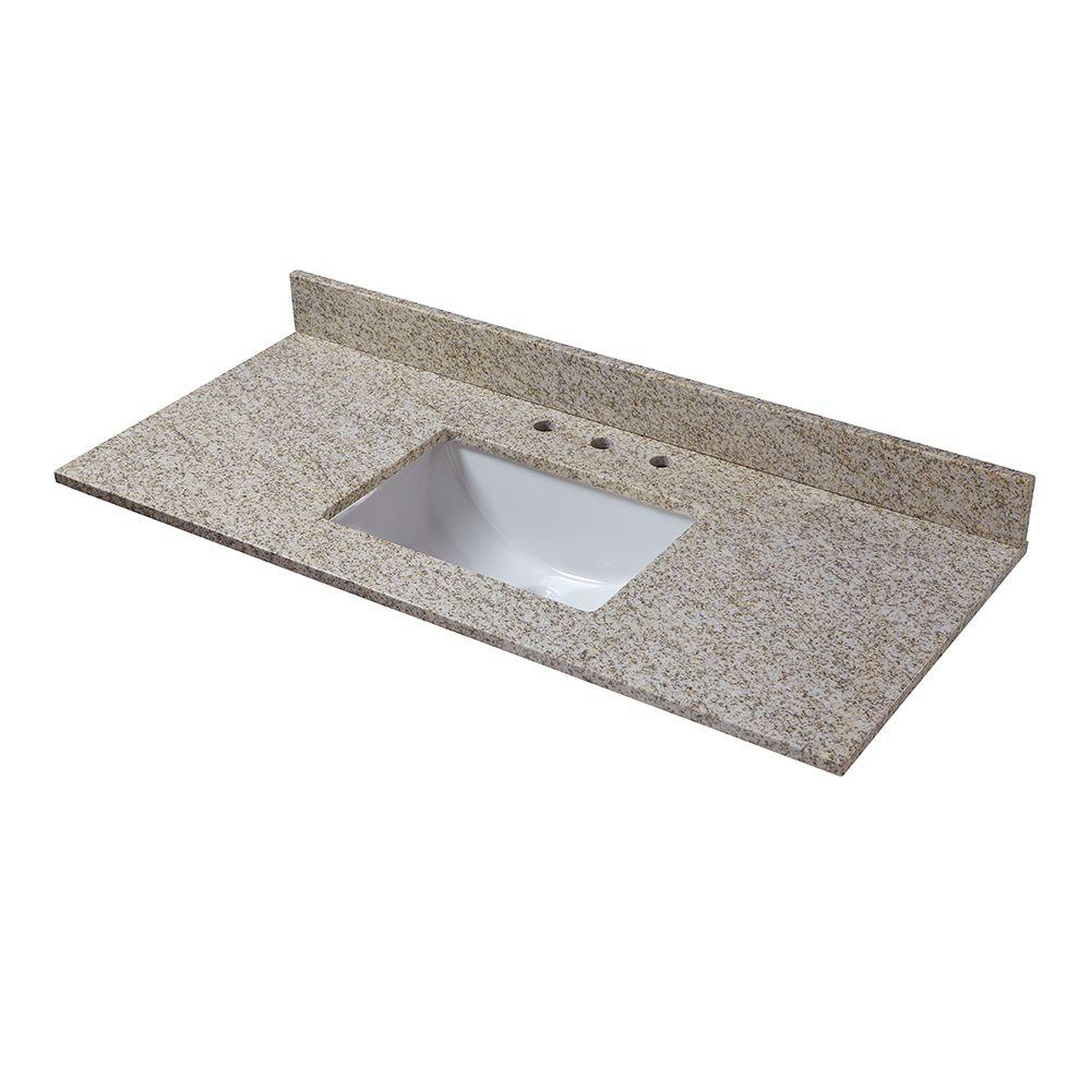 Pegasus 49 in. W Granite Vanity Top in Golden Hill with Trough Sink and 8 in. Faucet Spread
