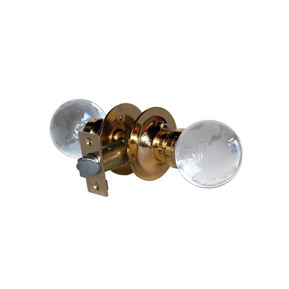 Globe Crystal Brass Passive Door Knob with LED Mixing Lighting Touch