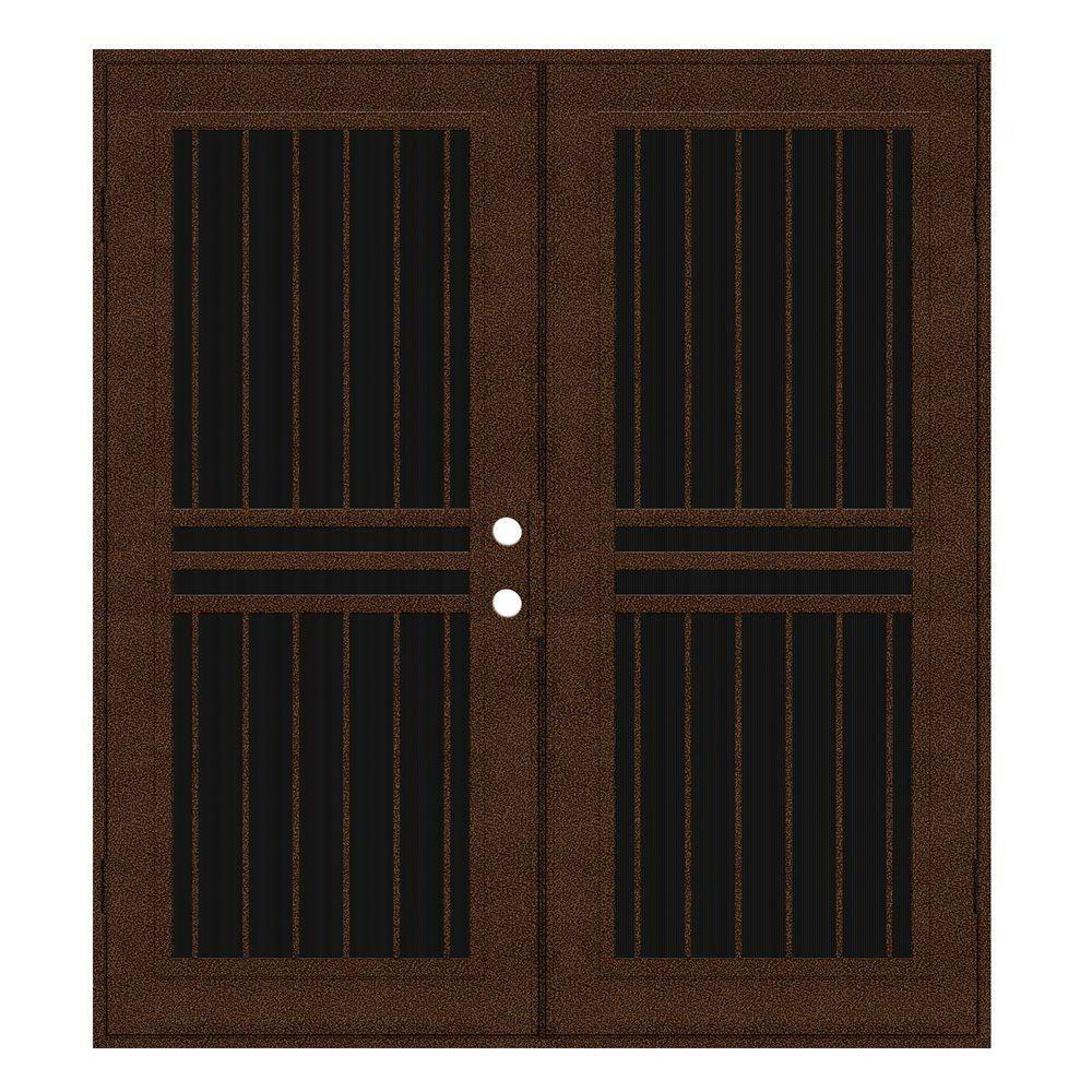 Unique Home Designs 72 in. x 80 in. Plain Bar Copperclad Left-Hand Surface Mount Aluminum Security Door with Charcoal Insect Screen