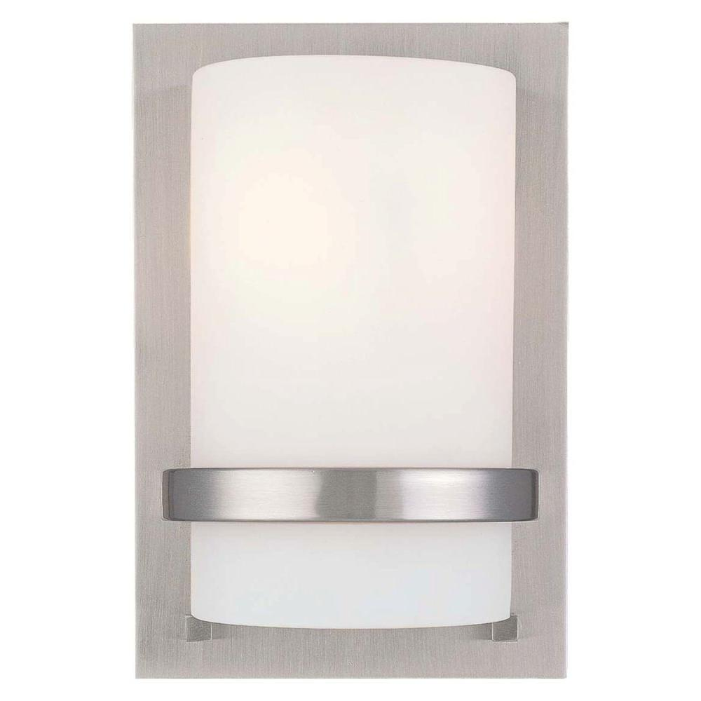 Minka Lavery 1-Light Brushed Nickel Sconce-342-84 - The Home Depot