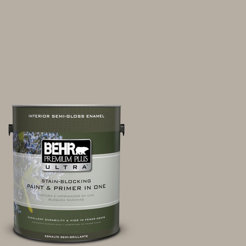 BEHR Premium Plus Ultra 1-gal. #PPU18-13 Perfect Taupe Semi-Gloss Enamel Interior Paint