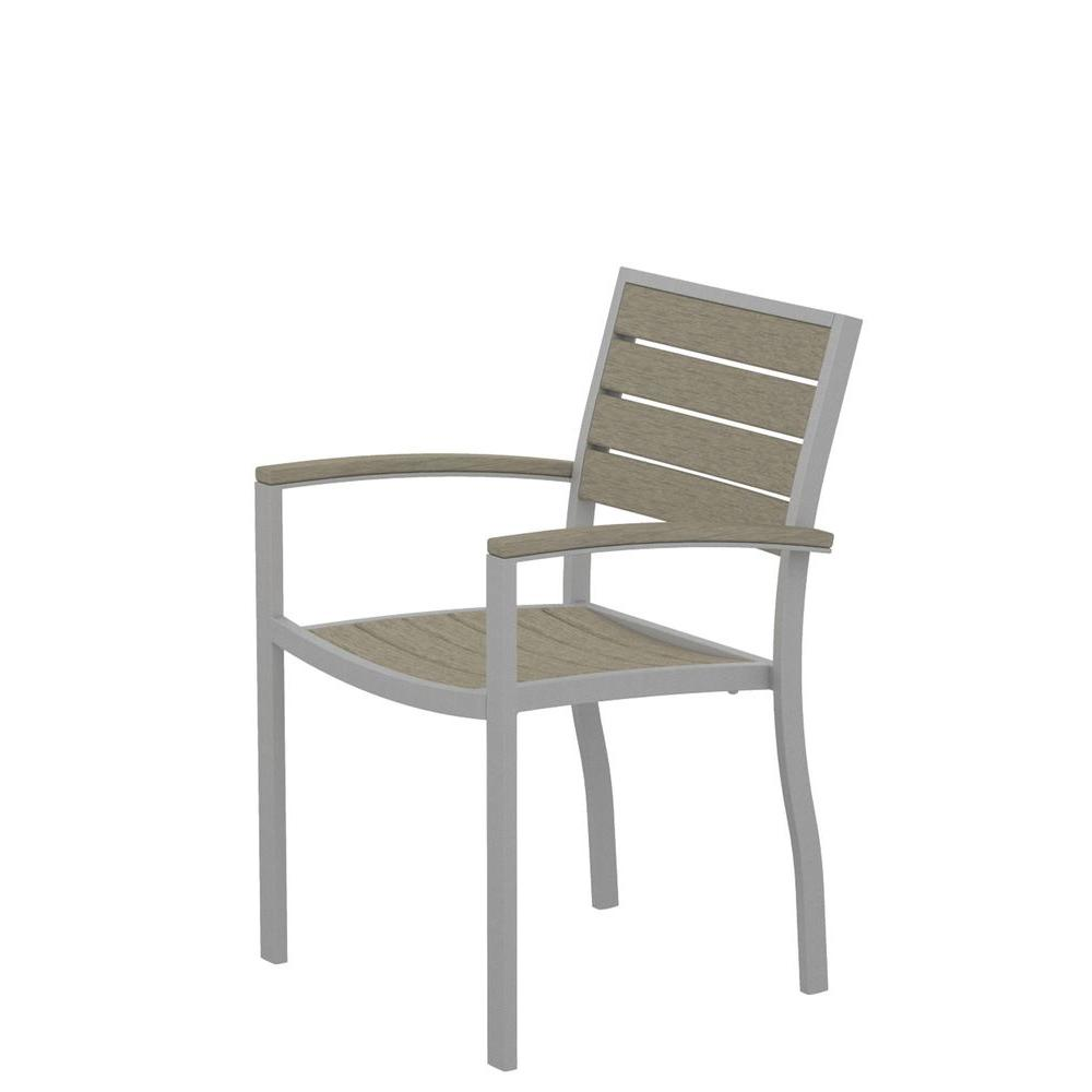 Euro Textured Silver Patio Dining Arm Chair with Sand Slats