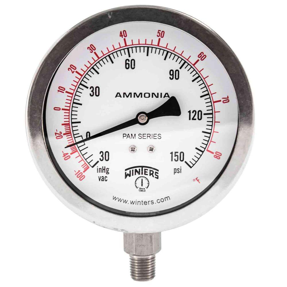 Winters Instruments PAM Series 4 in. Stainless Steel Case Ammonia Pressure