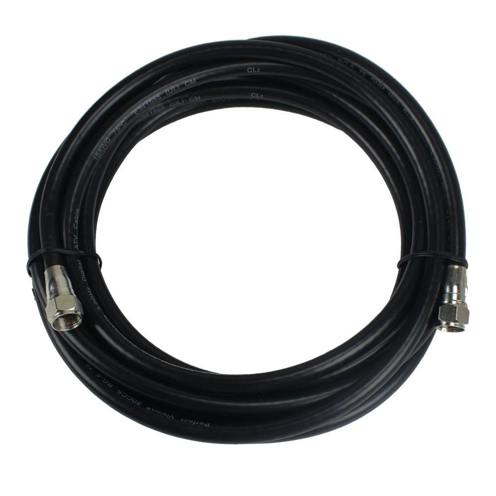 PerfectVision 12 ft. RG-6 Black Coaxial Cable with Ends