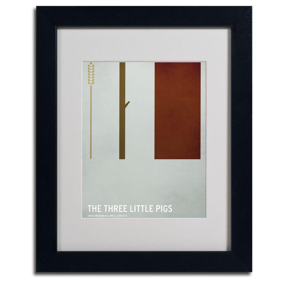 11 in. x 14 in. The Three Little Pigs Matted Framed