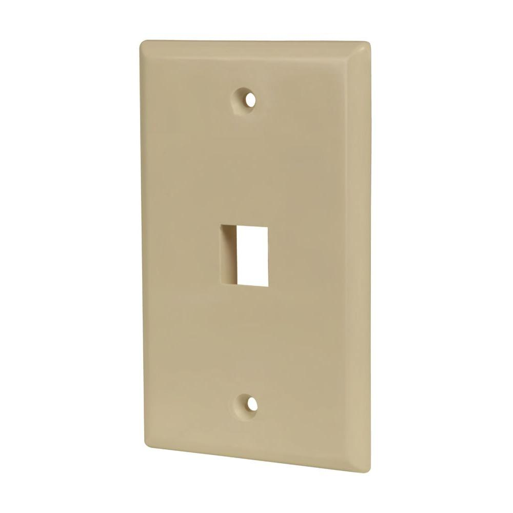 1-Port Data Wall Plate - Ivory