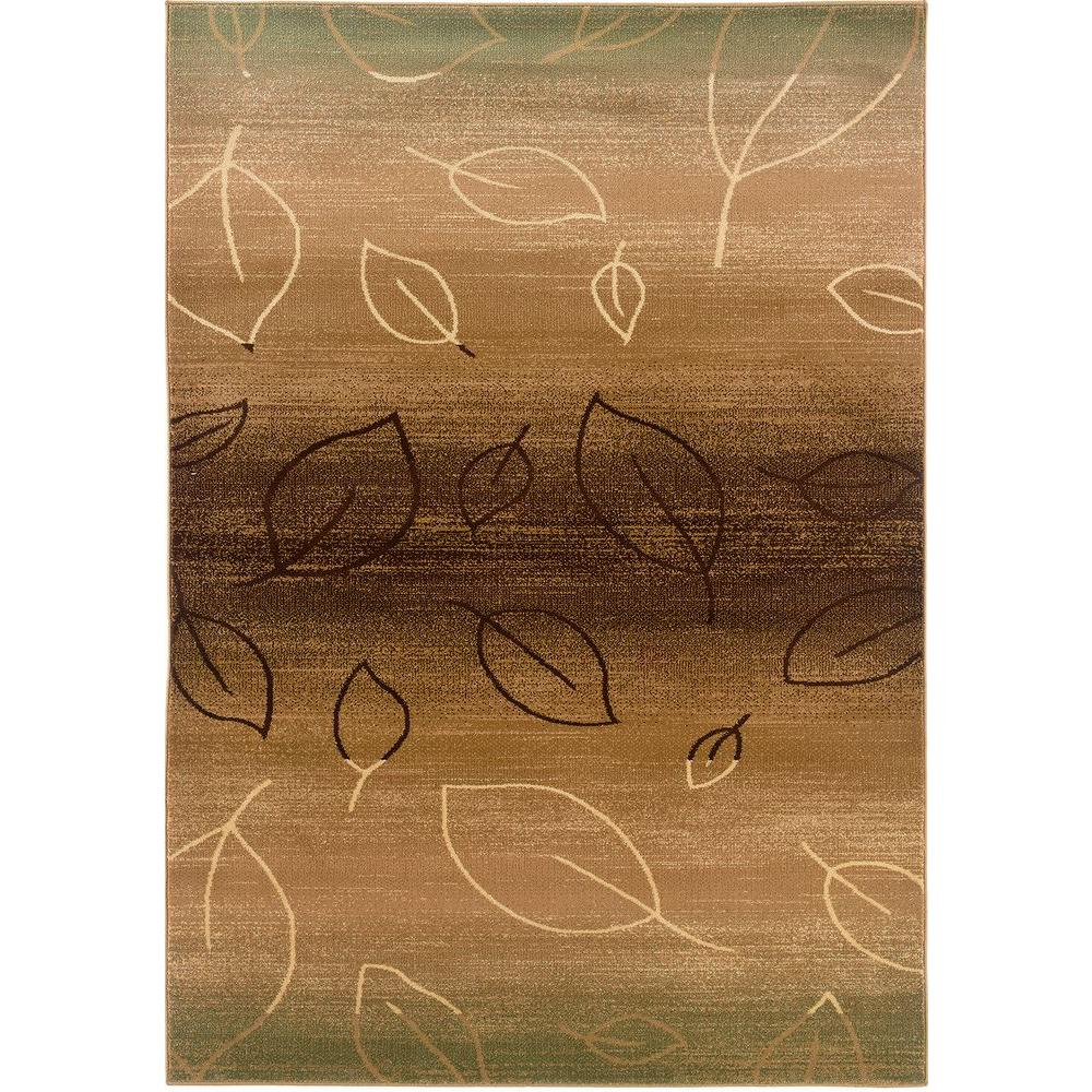 LR Resources Contemporary Light Brown and Light Moss Rectangle 5 ft. 3 in. x 7 ft. 5 in. Plush Indoor Area Rug