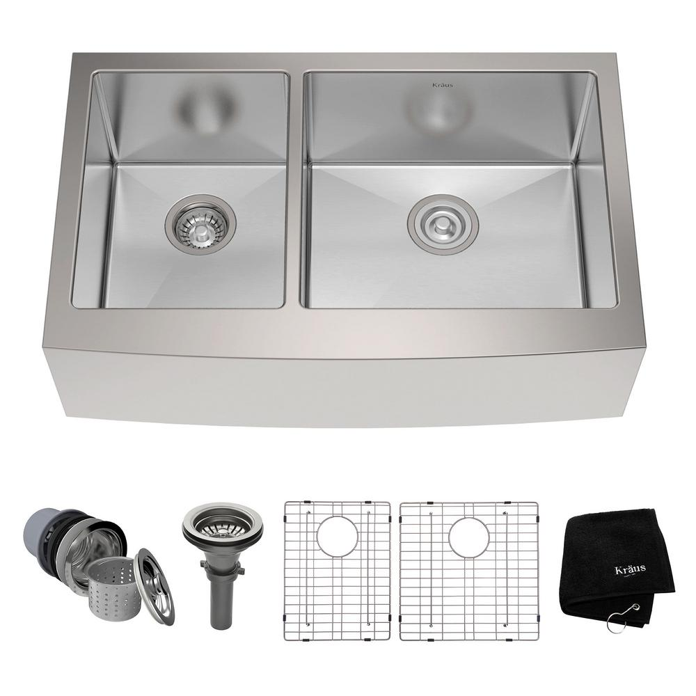 KRAUS Farmhouse Apron Front Stainless Steel 33 in. Double Basin Kitchen Sink Kit in Stainless Steel