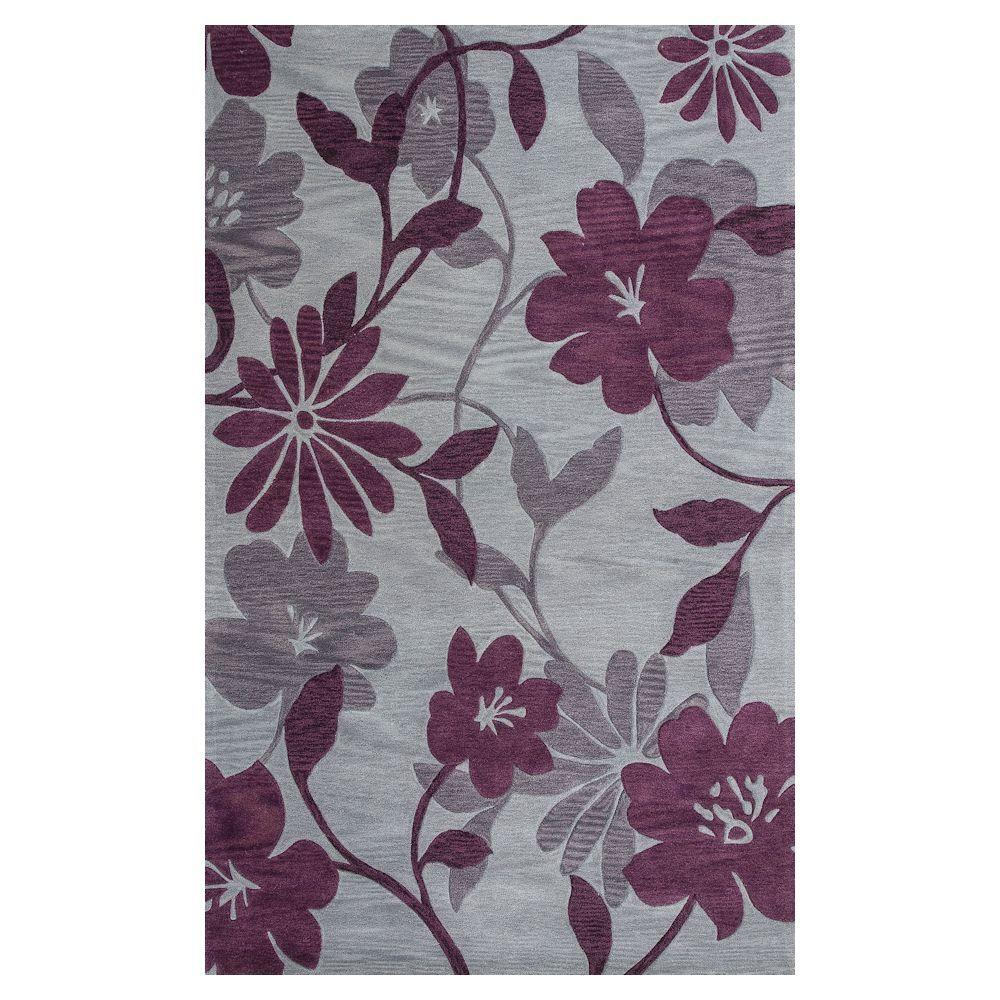Kas Rugs Summer Rays Grey/Plum 8 ft. x 10 ft. Area Rug