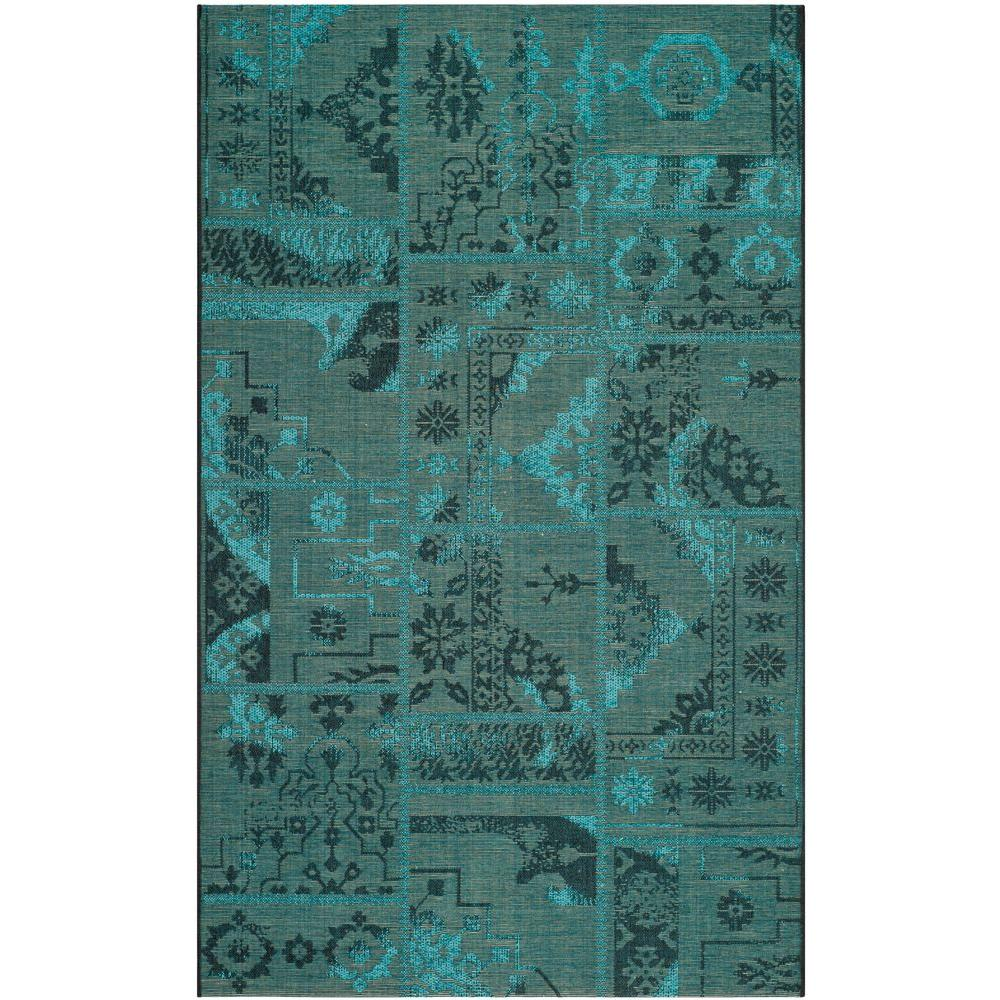 Palazzo Black/Turquoise 5 ft. x 8 ft. Area Rug