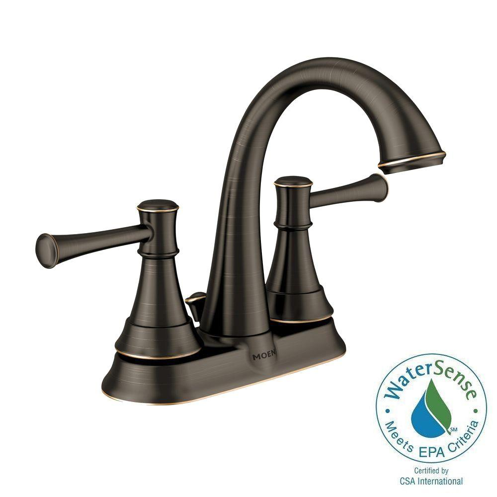 Moen Ashville 4 In Centerset 2 Handle Bathroom Faucet With Microban Protection In Mediterranean