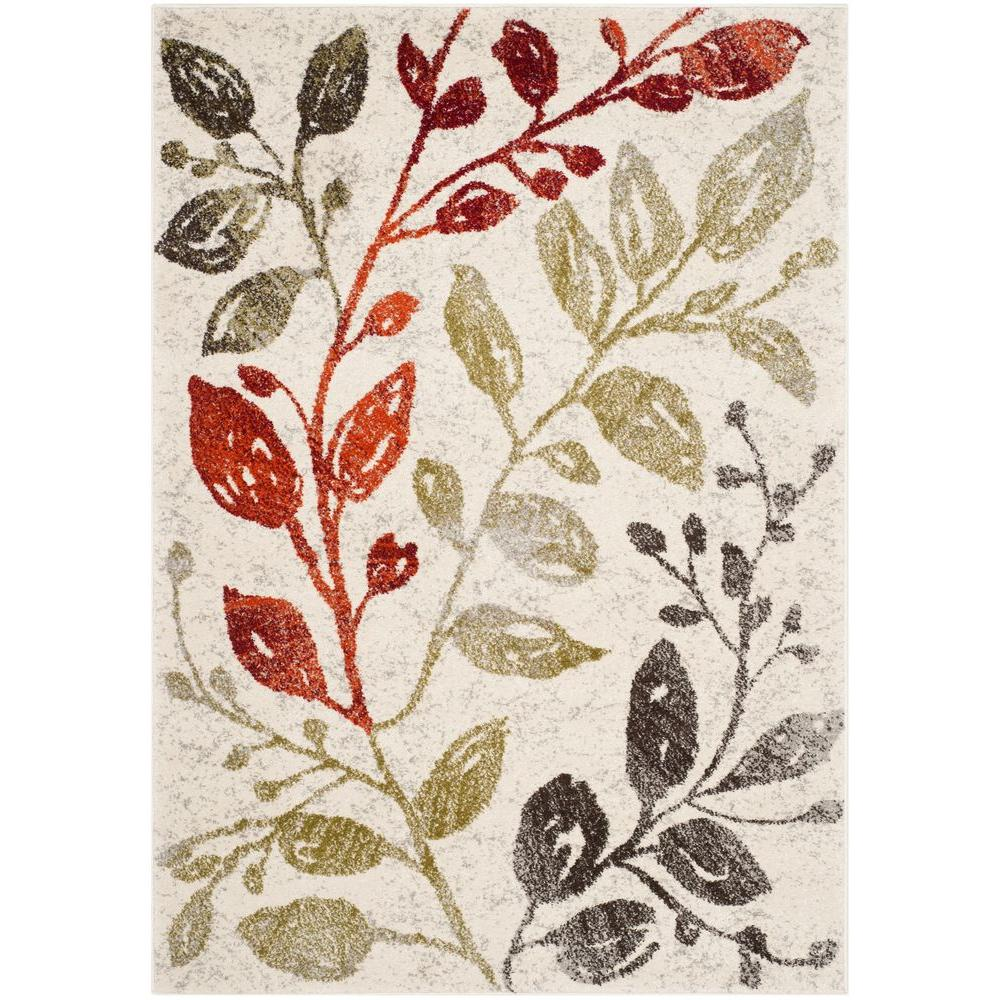 Porcello Ivory/Green 4 ft. x 5 ft. 7 in. Area Rug