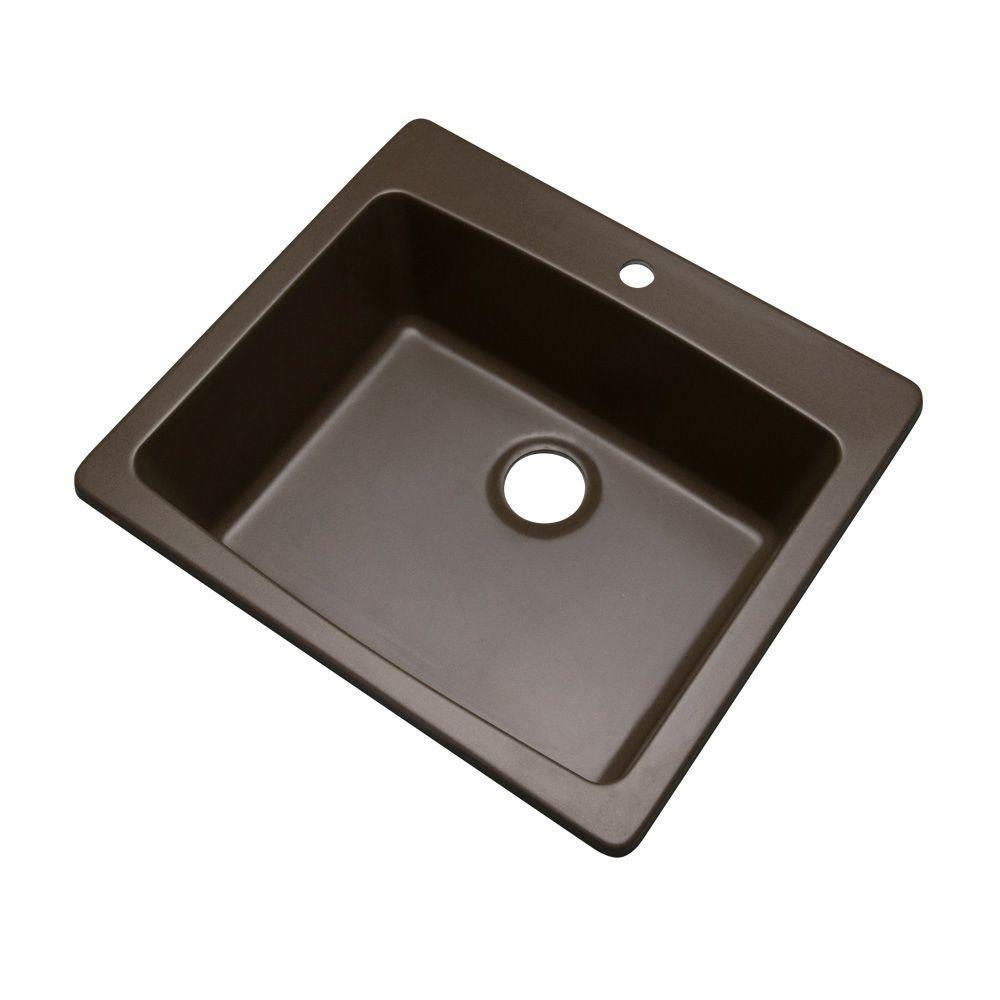 Northbrook Drop-In Composite Granite 25 in. 1-Hole Single Bowl Kitchen Sink in Mocha (Brown)