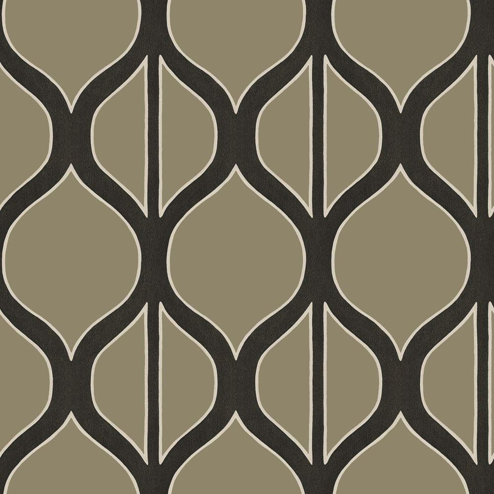 The Wallpaper Company 8 in. x 10 in. Black and Nickel Modern Geometric Design Wallpaper Sample
