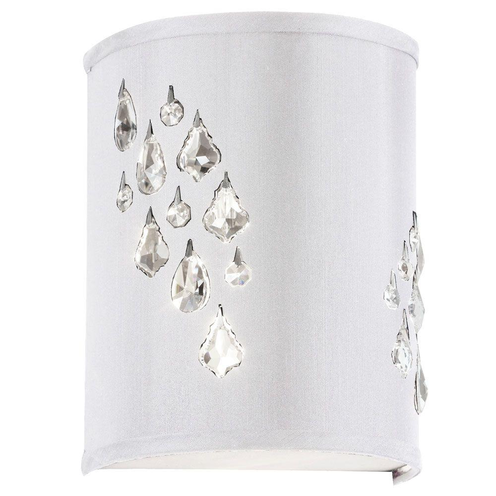 Radionic Hi Tech Rhiannon 2-Light Polished Chrome Left-Hand Facing Sconce with Crystal Accents and White Baroness Fabric