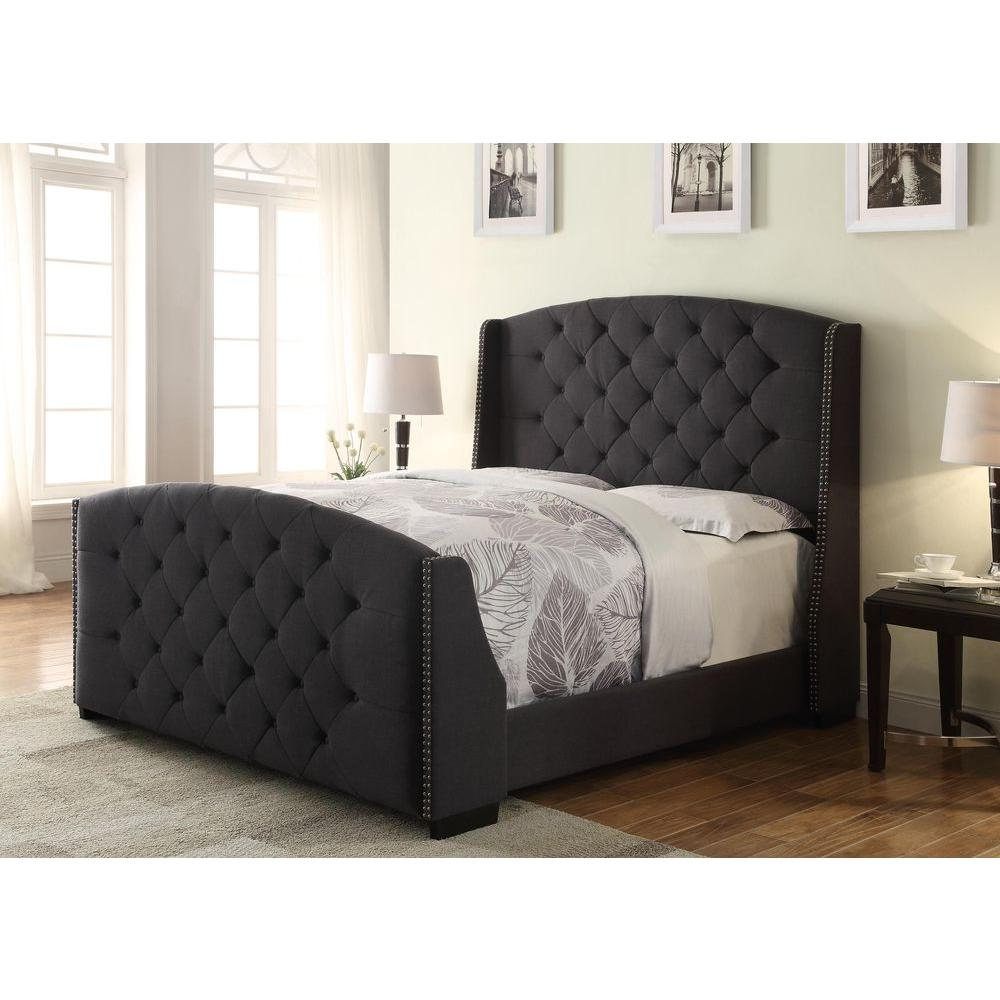 all in 1 charcoal queen upholstered bed