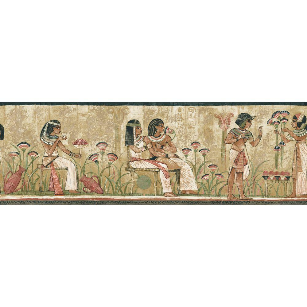 The Wallpaper Company 8 in. x 10 in. Earth Tone Egyptian Border Sample