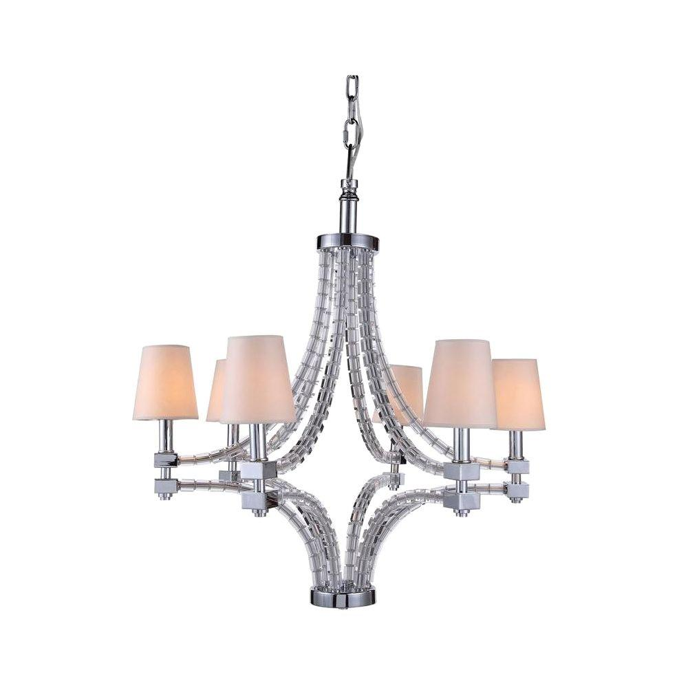 Cristal 6-Light Polished Nickel Chandelier with Clear Crystal