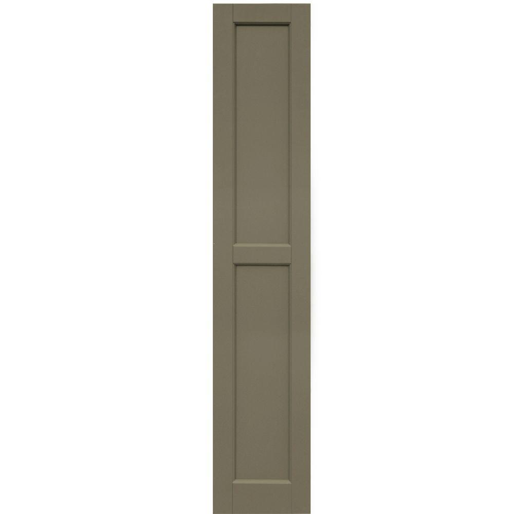 Winworks Wood Composite 12 in. x 63 in. Contemporary Flat Panel Shutters Pair #660 Weathered Shingle