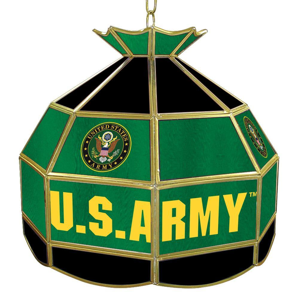 United States Army Symbol 16 in. Gold Hanging Tiffany Style Lamp