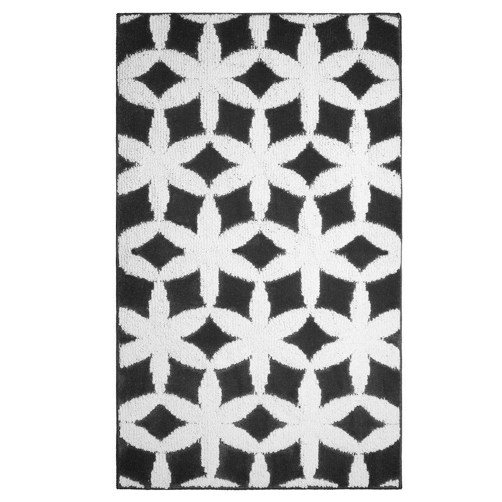 Geo Flower Grey/Ivory 2 ft. x 5 ft. Accent Rug