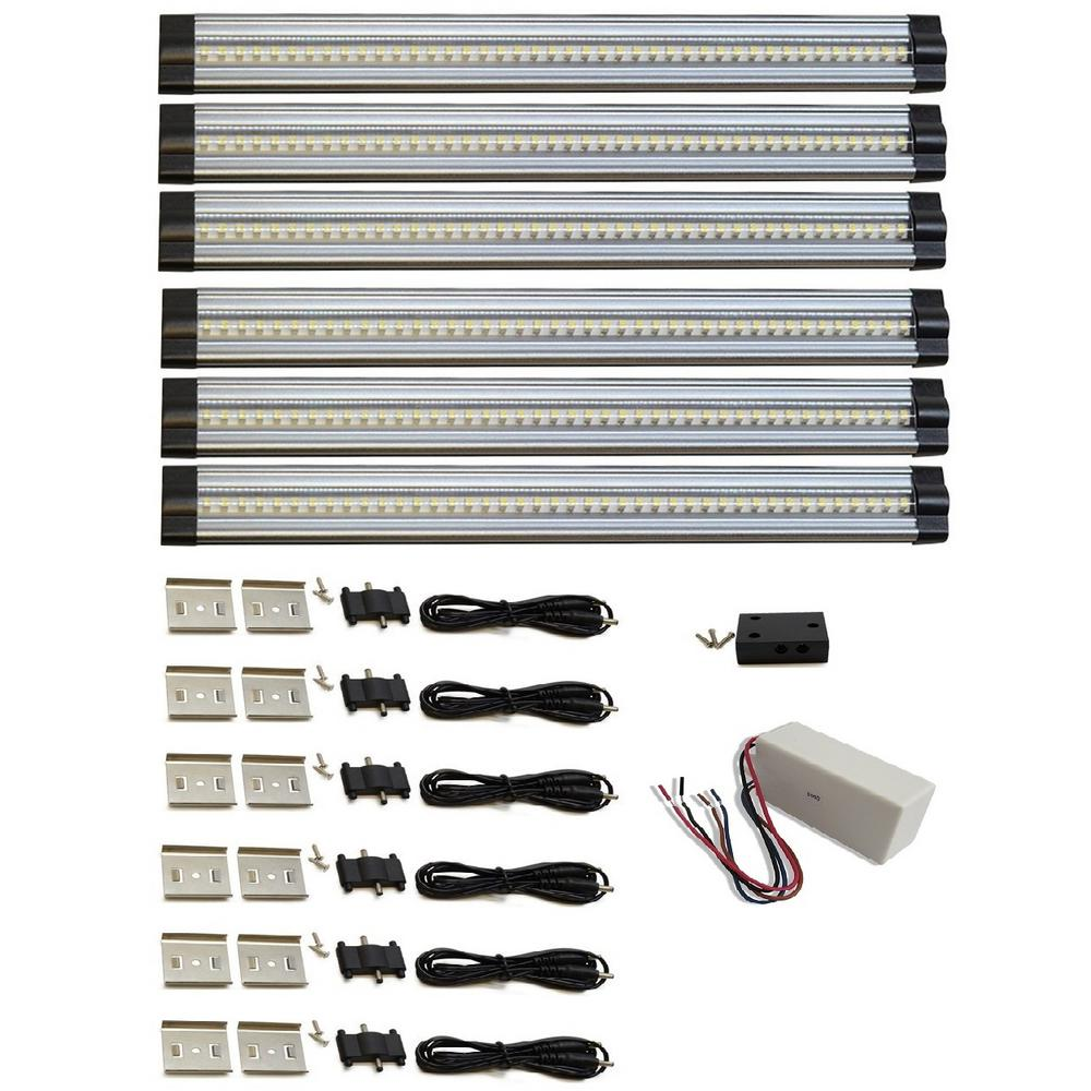 macLEDS 12 in. 4000K Neutral White Hard-Wired LED 6-Strip Light 6-Piece