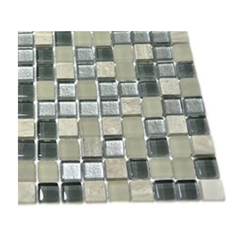 Splashback Tile Naiad Blend Squares 1/2 in. x 1/2 in. Marble and Glass Tile Squares - 6 in. x 6 in. Floor and Wall Tile Sample