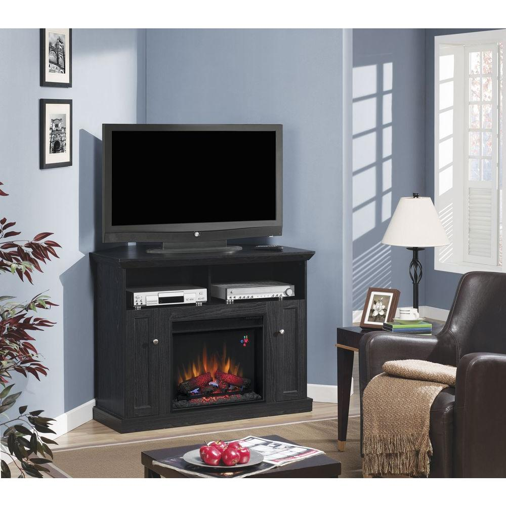 Hampton Bay Charles Mill 46 in. Convertible Media Console Electric Fireplace in Black